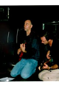 "Marcelo Nicoli (bass) & me onstage between acts. We'd play upto 6 straight hours every Tues nite at RDLoungeSF 2001-2002. Everyone came, famous & not. DotCom era packed. Marcelo & I played the ""NovemberToDismember"" SoCal MetalFest with Atma Anur that year. Marcelo Nicoli, an immensely talented player from Cremona, Italy; a musical brother, beautiful soul, sacrificed all to play in US, died 2009 - the embodiment of resourcefulness and guts."