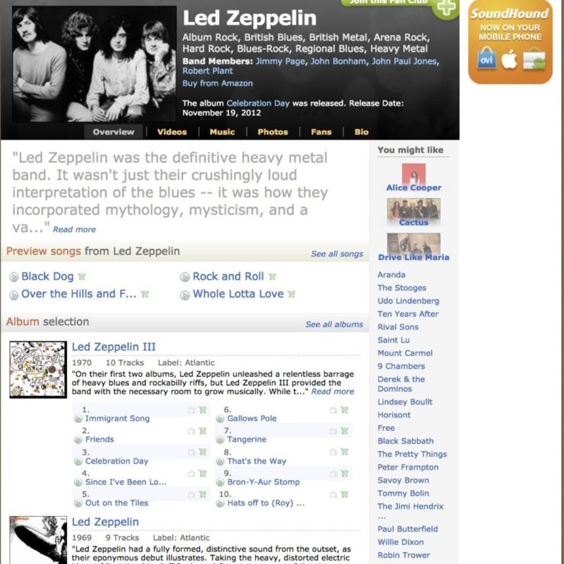 Midomi Magazine - Led Zeppelin Page Lindsey Boullt similar artists 2018